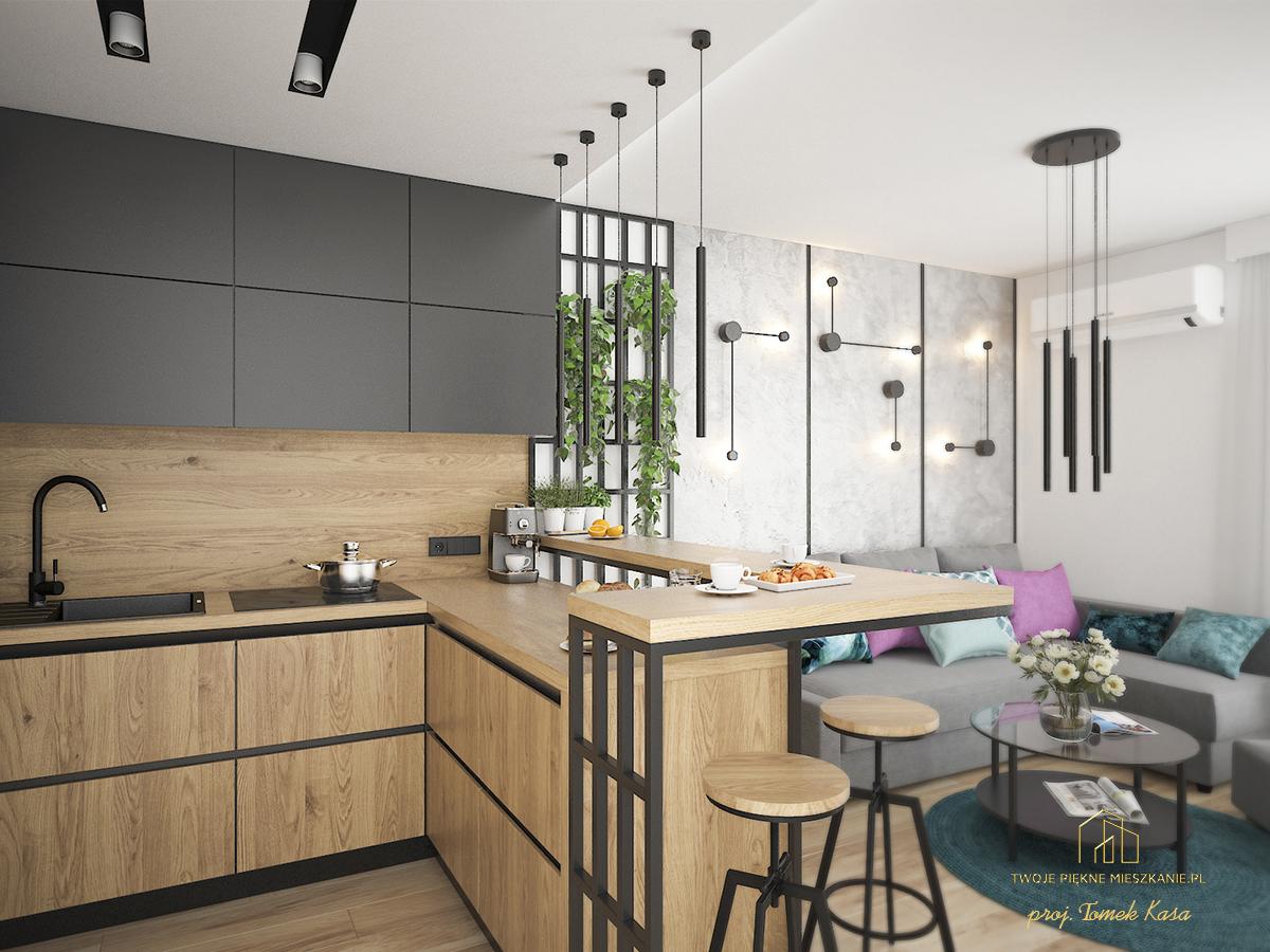 projekt kuchni z salonem zgora